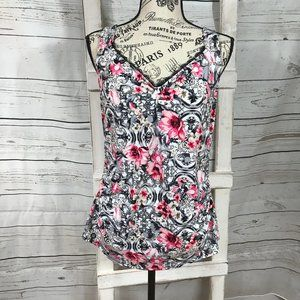 White House Black Market Pink Floral Tank Top